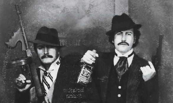Gustavo Gaviria posing as a gangster with his cousin Pablo in the 1980s