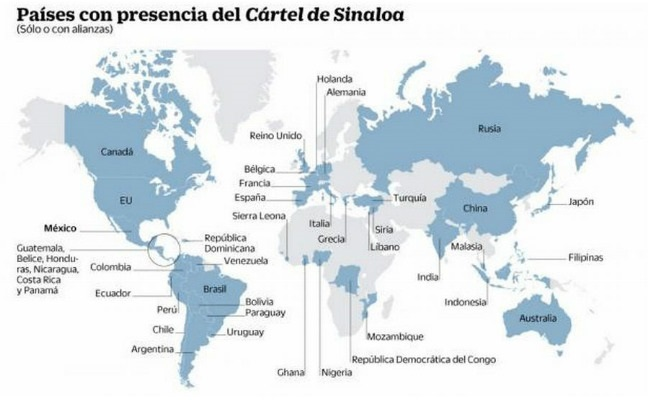 Countries where the sinaloa cartel operate