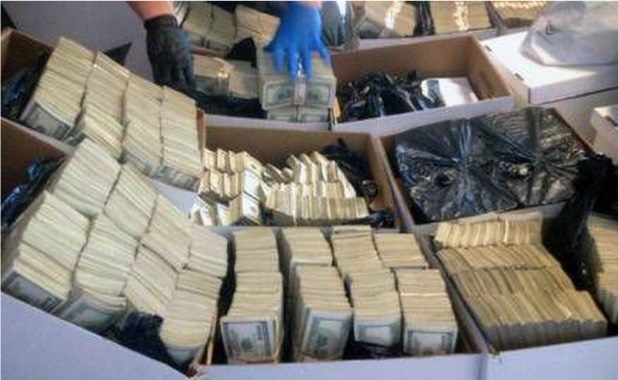Money confiscated to the Sinaloa cartel
